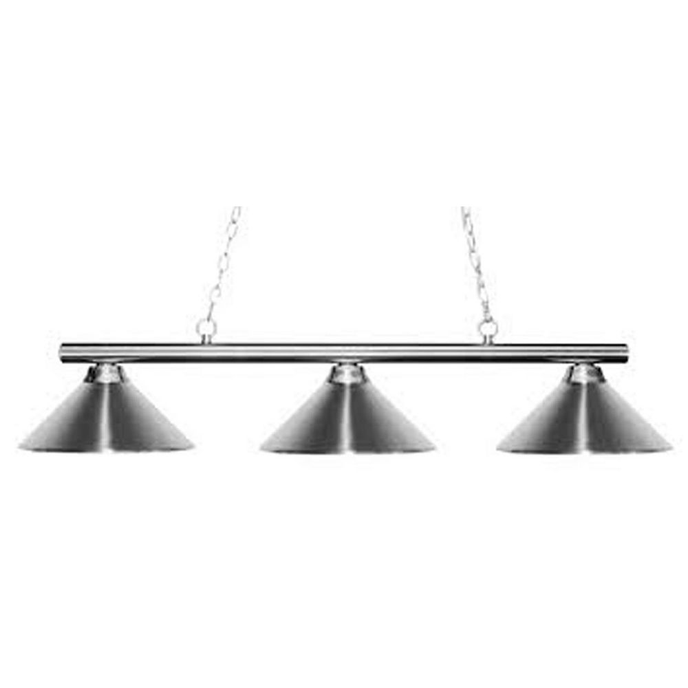 Filament Design 3-Light Chrome Island/Billiard with Chrome Steel Shade - 48 inch