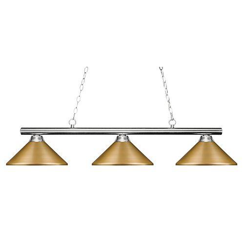 Billard îlot à 3 ampoules en chrome avec abat-jour en acier satiné doré