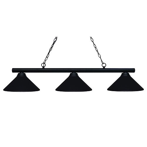 Billard noir avec 3 abat-jour en acier noir mat - Noir
