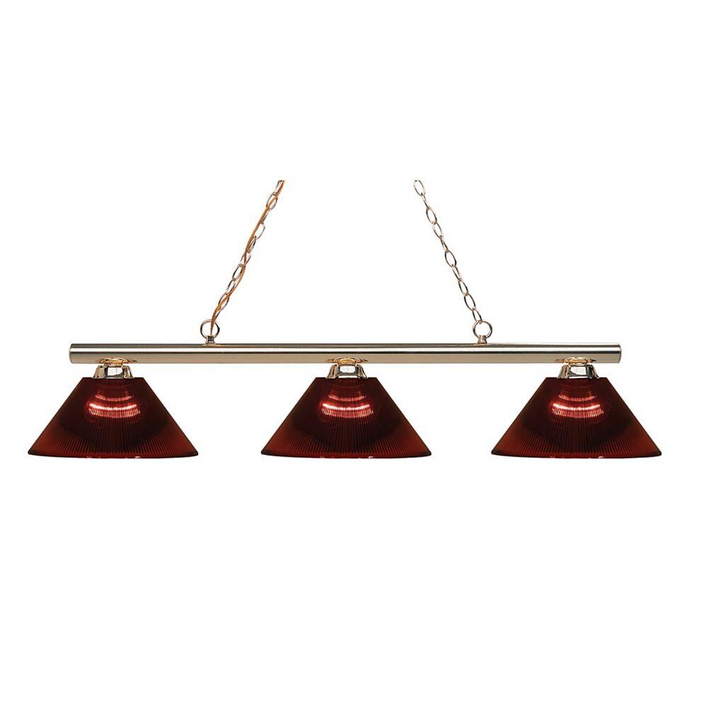 Filament Design 3-Light Polished Brass Island/Billiard with Burgundy Acrylic Shade - 48 inch