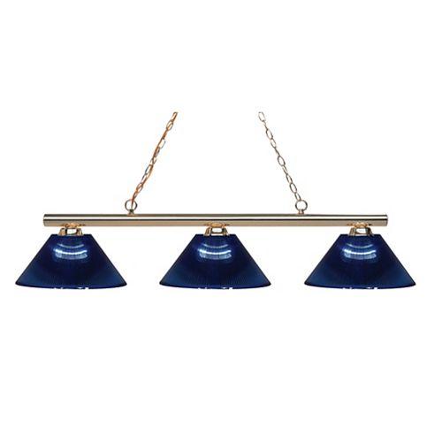 Filament Design 3-Light Polished Brass Island/Billiard with Dark Blue Acrylic Shade - 48 inch