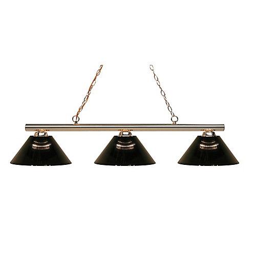 3-Light Polished Brass Island/Billiard with Smoke Acrylic Shade - 48 inch