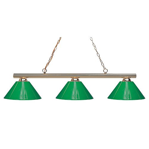 Îlot / billard à 3 ampoules en laiton poli avec plastique vert - 48 pouces