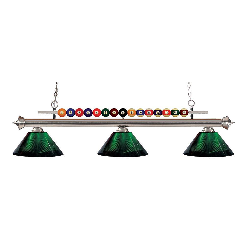 Filament Design 3-Light Brushed Nickel Island/Billiard with Green Acrylic Shade - 58 inch
