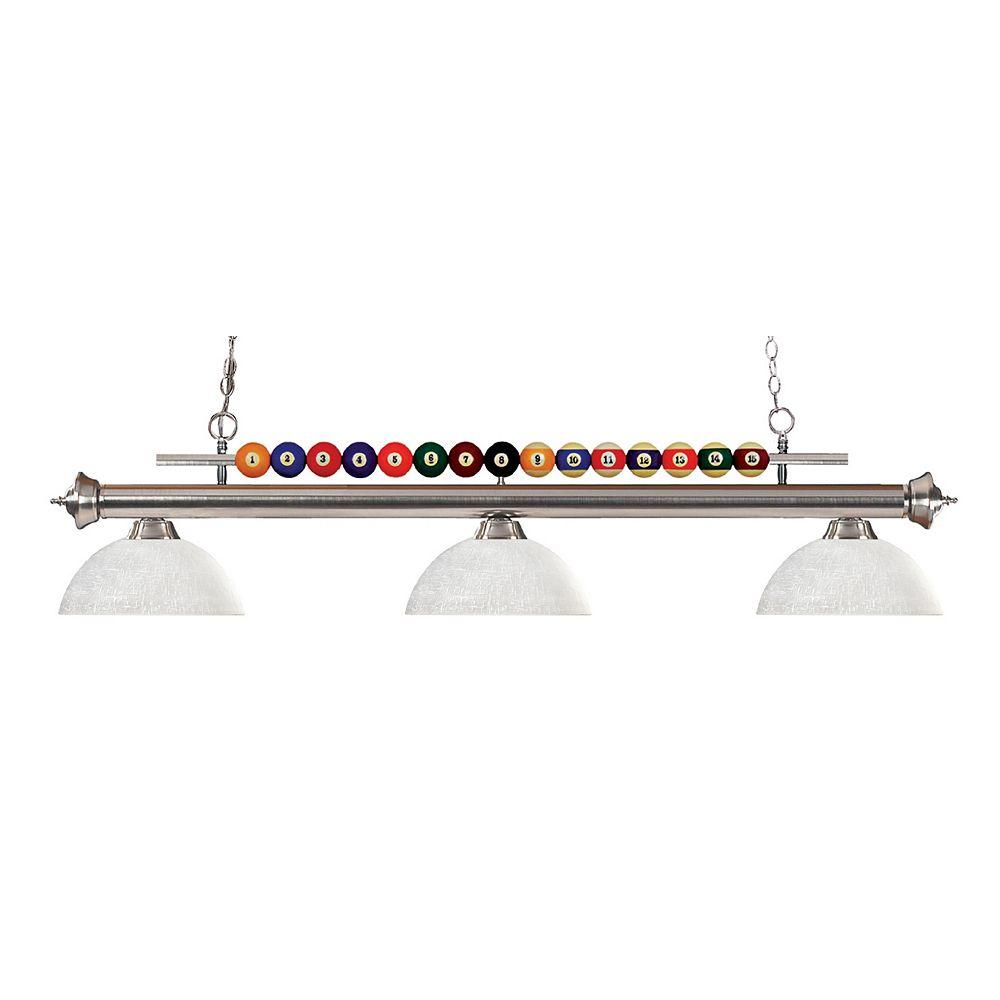Filament Design Billard à 3 lampes, nickel brossé et verre de lin blanc - 58 pouces