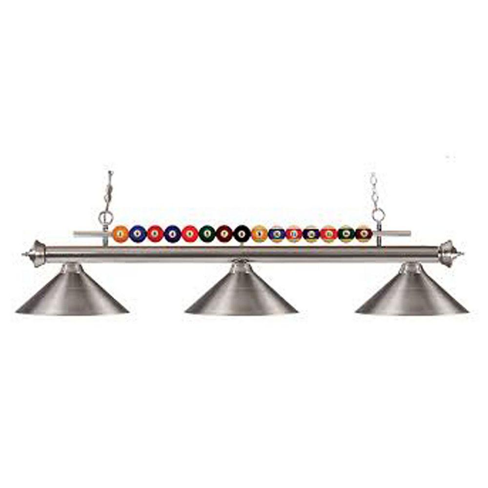 Filament Design 3-Light Brushed Nickel Island/Billiard with Brushed Nickel Steel Shade - 58 inch