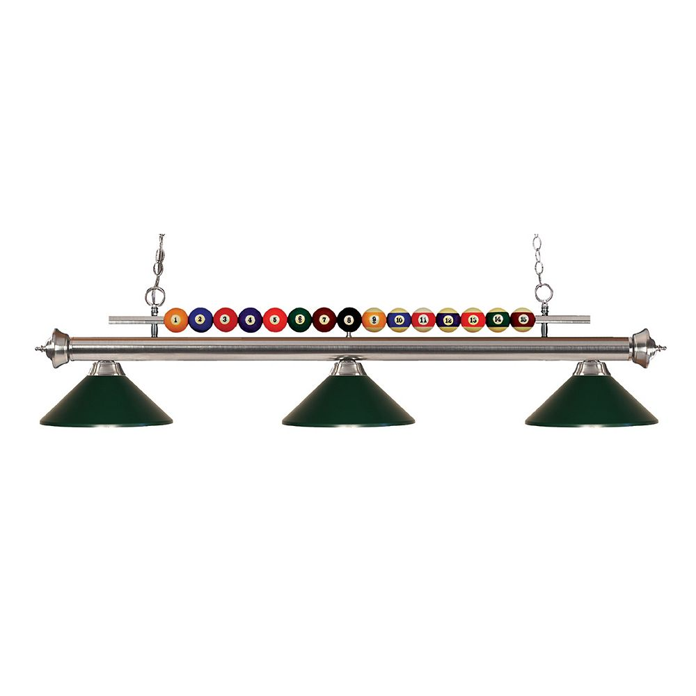 Filament Design Island / Billard à 3 ampoules nickel avec abat-jour en acier vert foncé - 58 pouces