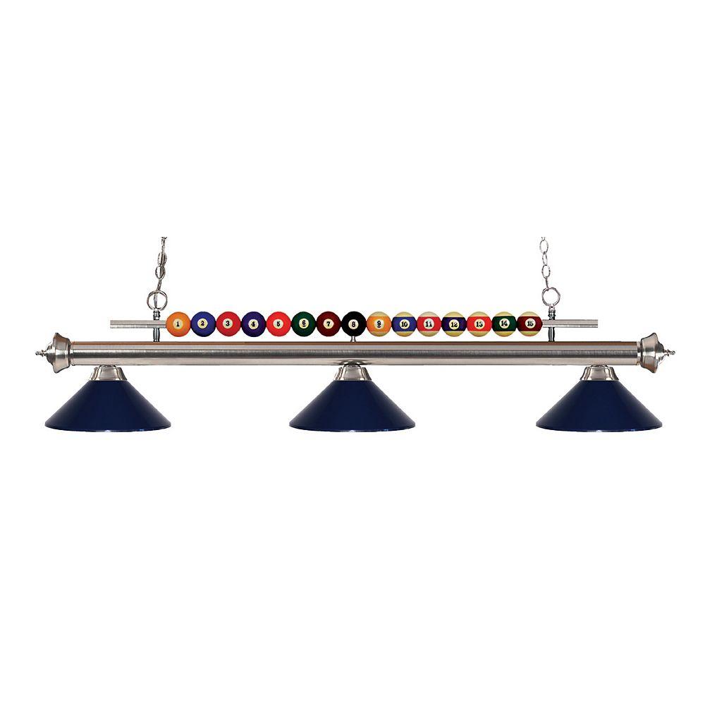 Filament Design 3-Light Brushed Nickel Island/Billiard with Navy Blue Steel Shade - 58 inch