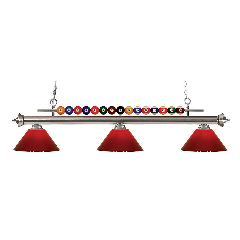 Filament Design 3-Light Brushed Nickel Island/Billiard with Red Plastic - 58 inch
