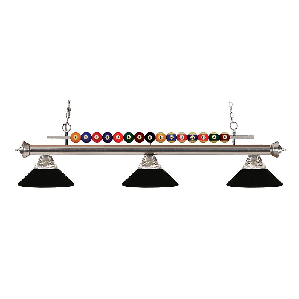 Filament Design 3-Light Brushed Nickel Island Light with Clear Ribbed and Matte Black Glass and Steel Shades