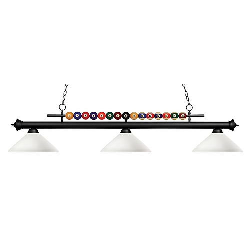 3-Light Matte Black Island/Billiard with Matte Opal Glass - 58 inch