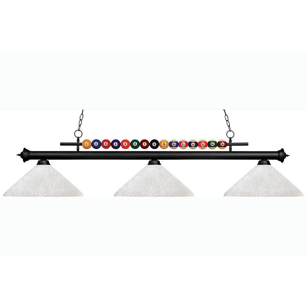 Filament Design 3-Light Matte Black Island/Billiard with White Linen Glass - 60 inch