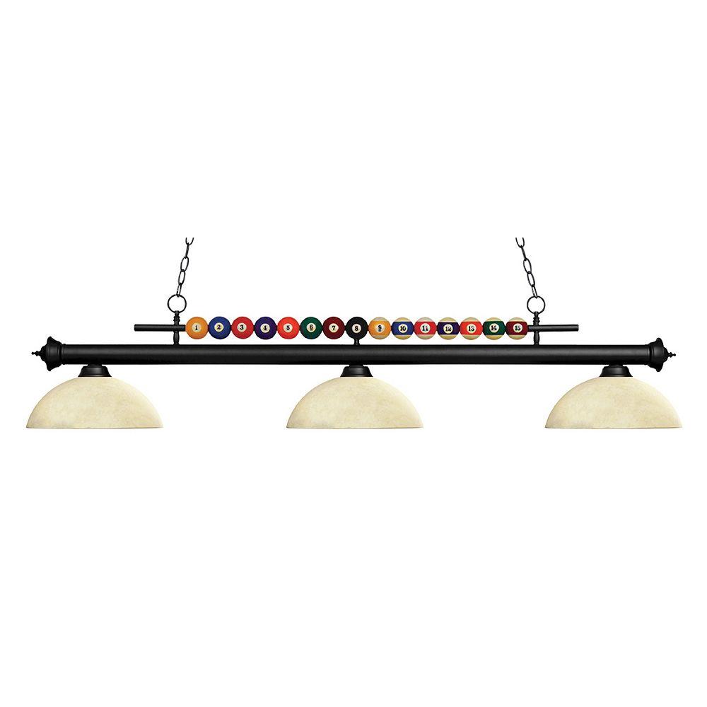 Filament Design 3-Light Matte Black Island/Billiard with Multi Colored Tiffany Glass