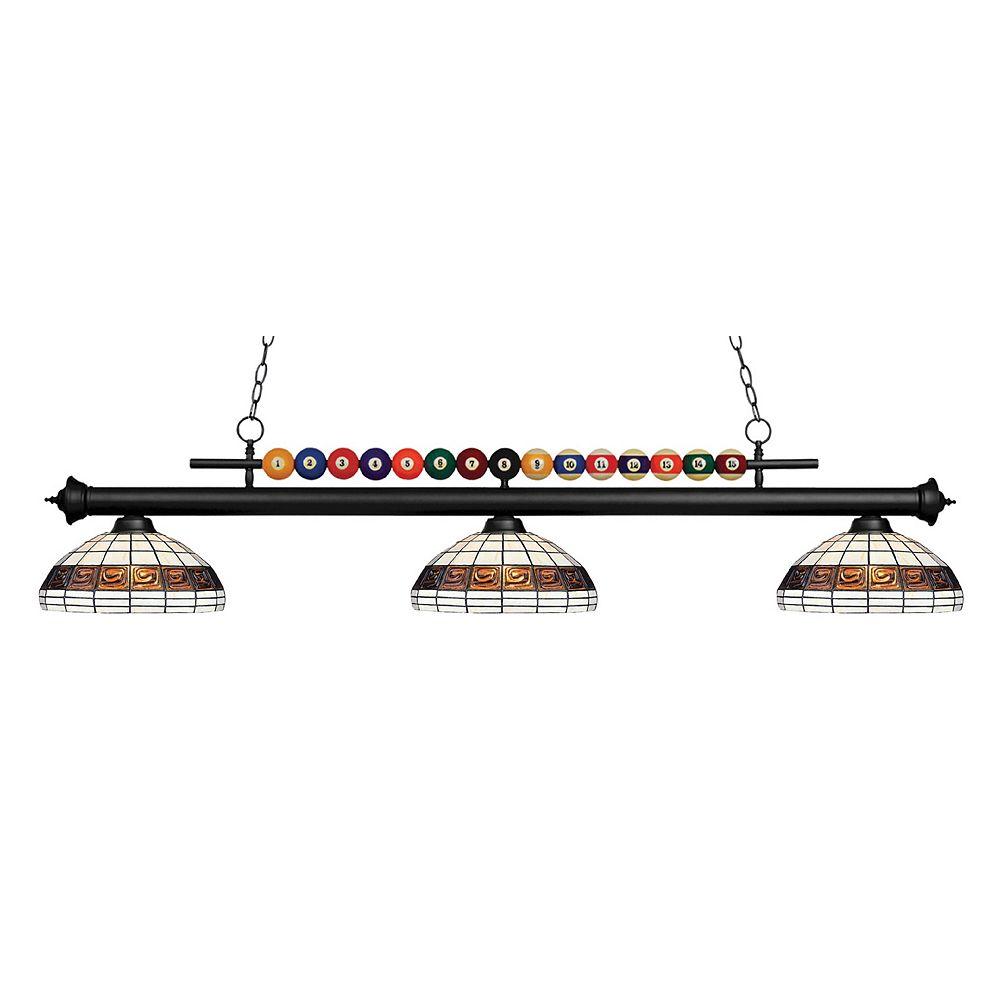 Filament Design 3-Light Matte Black Island/Billiard with Multi Colored Tiffany Glass Shades