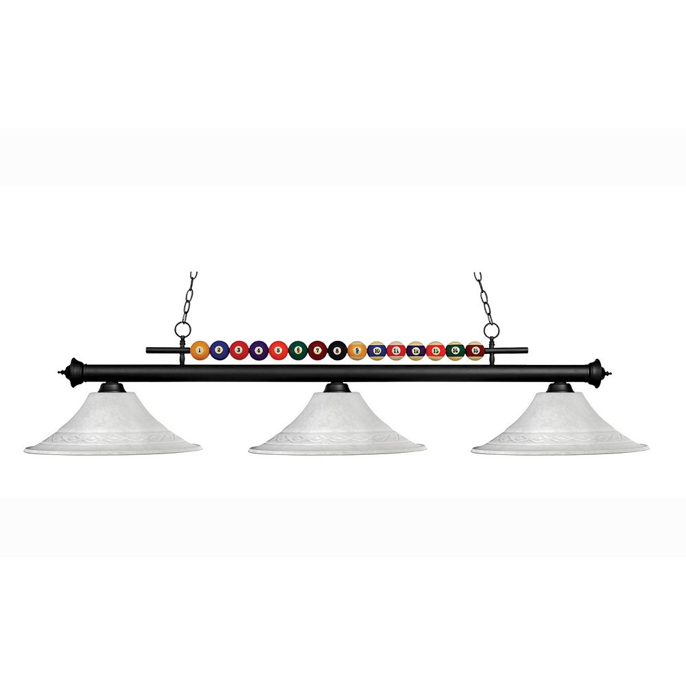 Filament Design 3-Light Matte Black Billiard with White Mottle Glass