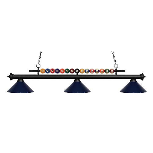 Filament Design 3-Light Matte Black Island/Billiard with Navy Blue Steel Shade - 58 inch