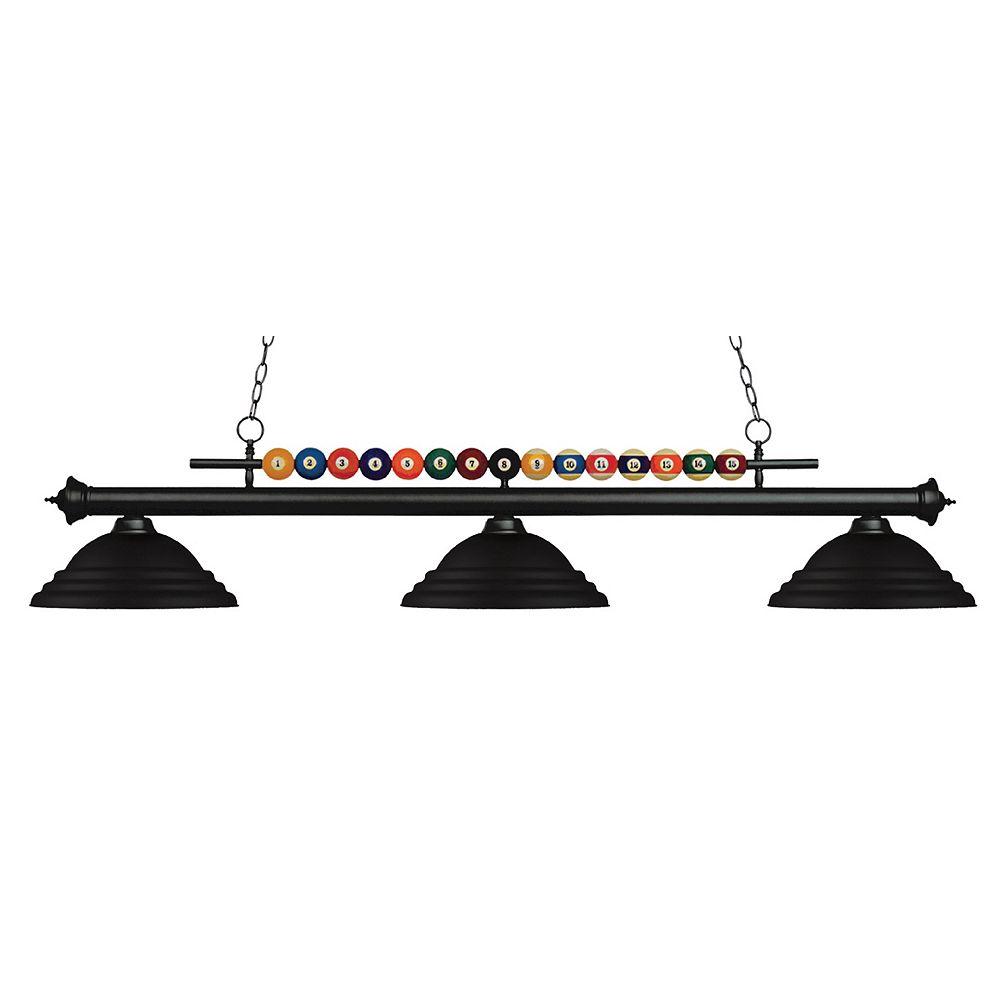 Filament Design Billard noir mat à 3 ampoules avec abat-jour en acier noir mat - 60 po