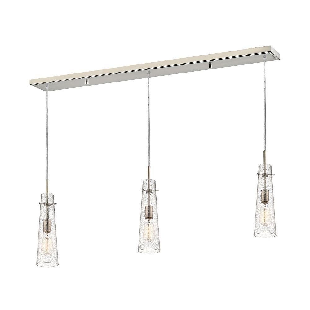 Filament Design Billard à 3 lumières, nickel brossé et verre à gouttes transparent - 46 pouces