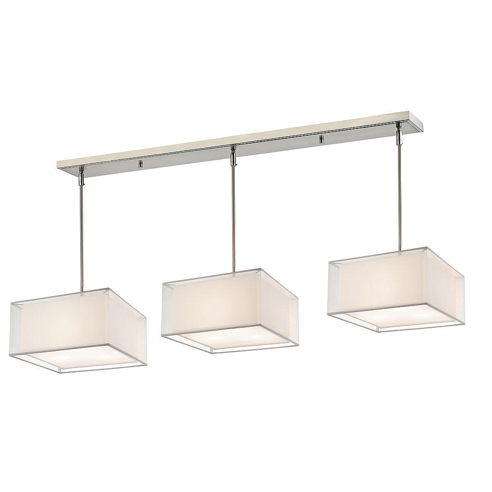 Filament Design Billard à 9 lumières, nickel brossé et abat-jour en organza blanc et blanc - 57 pouces