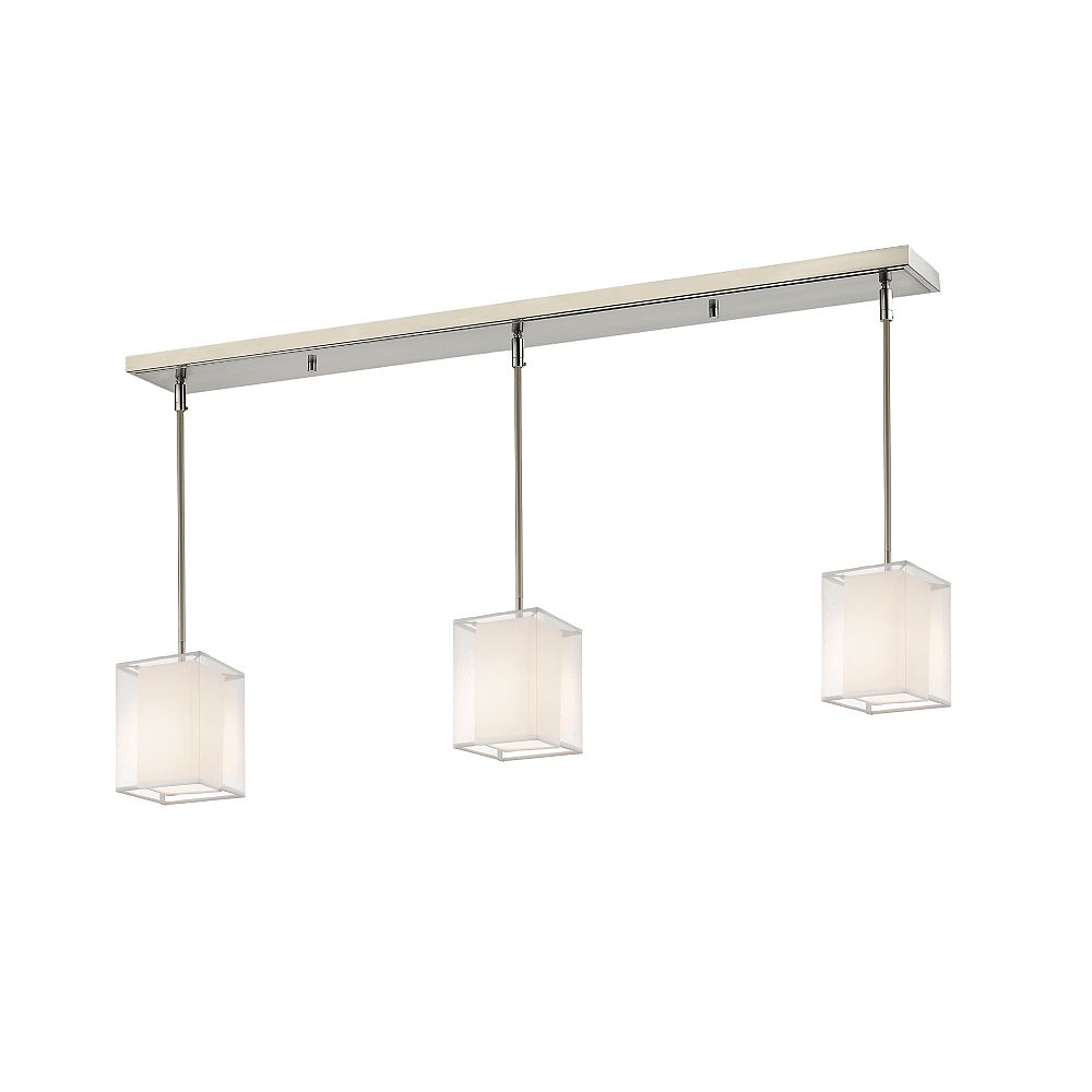 Filament Design 3-Light Brushed Nickel Billiard with White and White Organza Shade - 48 inch