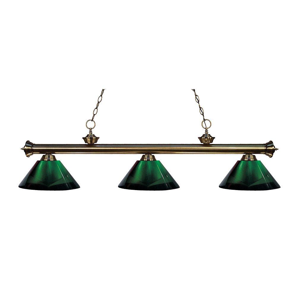 Filament Design Billard îlot en laiton antique à 3 ampoules avec abat-jour en acrylique vert