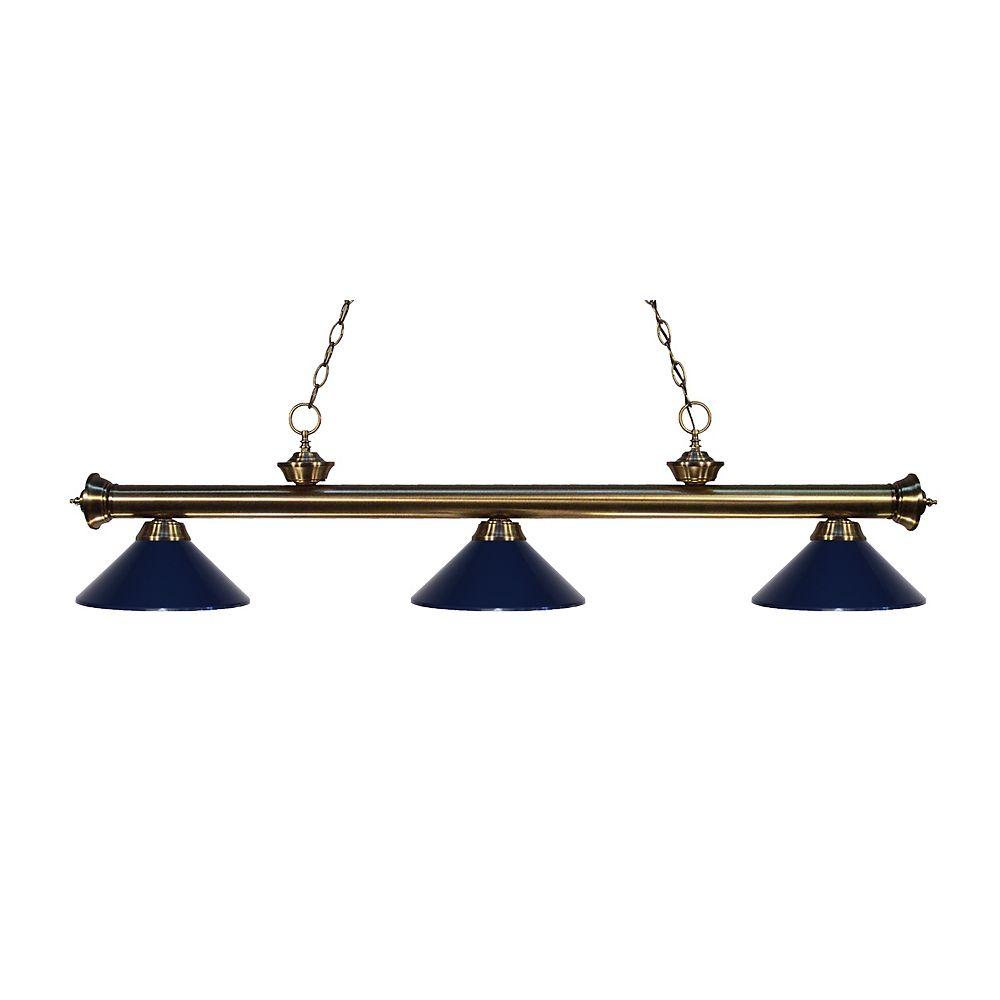 Filament Design 3-Light Antique Brass Island/Billiard with Navy Blue Steel Shade - 57 inch