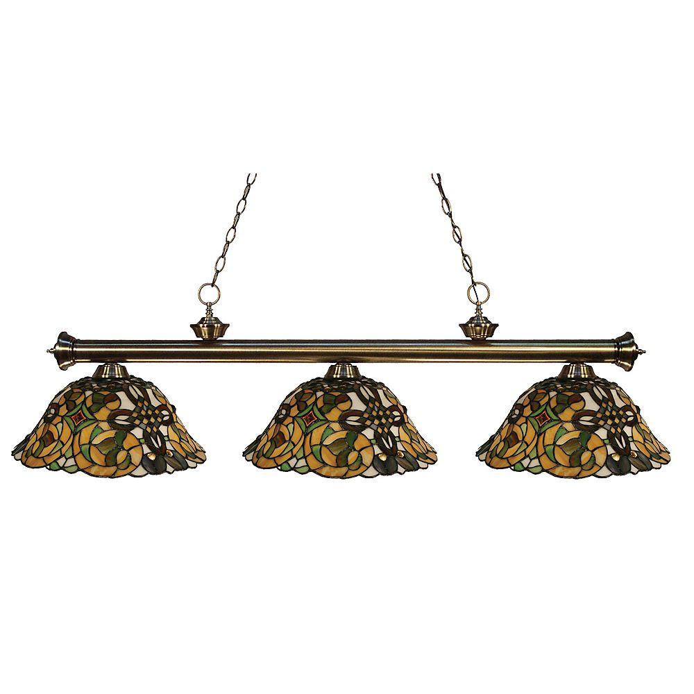 Filament Design 3-Light Antique Brass Billiard with Tiffany Glass Shades