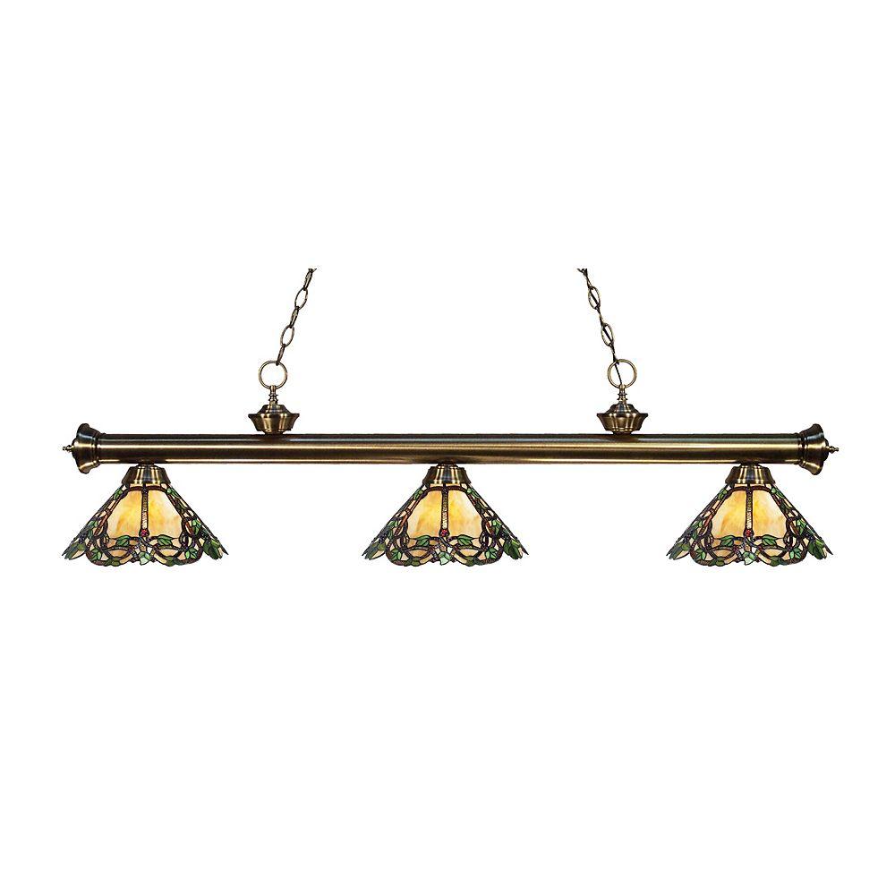 Filament Design 3-Light Antique Brass Island/Billiard with Multi Colored Tiffany Glass Shades