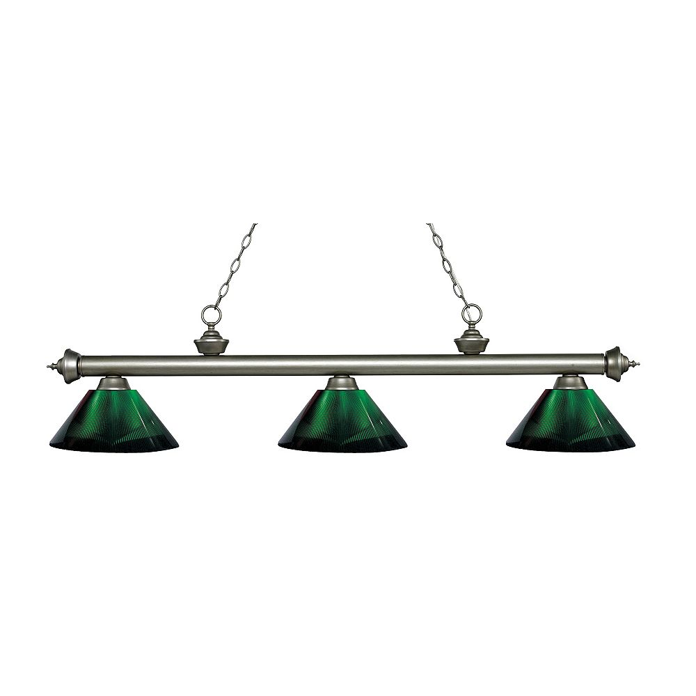 Filament Design 3-Light Antique Silver Island/Billiard with Green Acrylic Shade - 57.25 inch