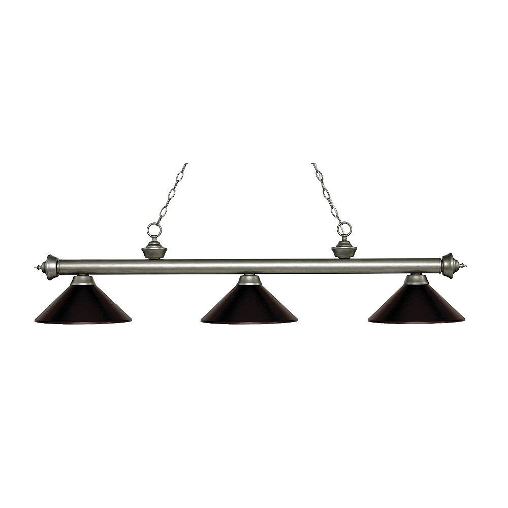 Filament Design Billard argenté antique à 3 lumières avec abat-jour en acier bronze - 57,25 pouces