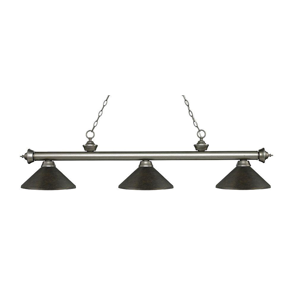 Filament Design 3-Light Antique Silver Island/Billiard with Golden Bronze Steel Shade - 57.25 inch