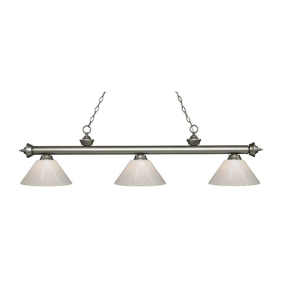 Filament Design Billard français avec 3 lampes antiques Silver Island - 57 pouces