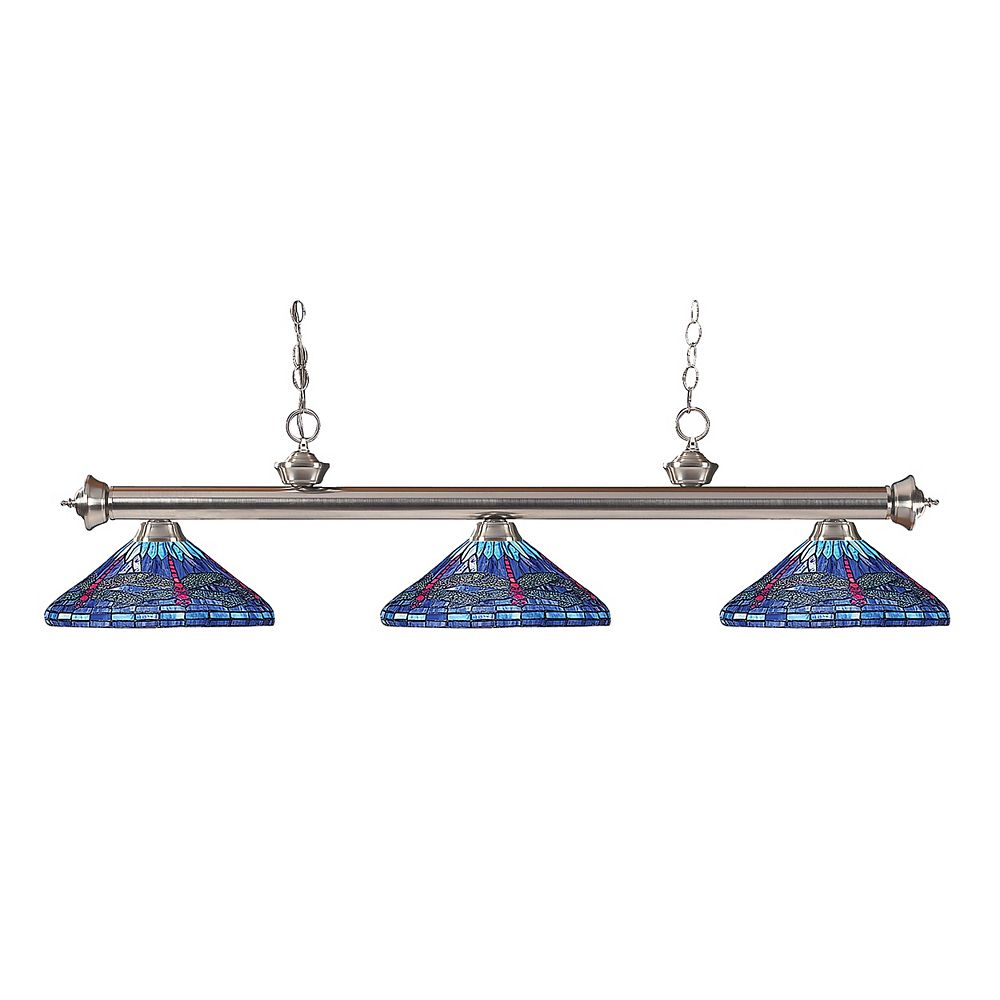 Filament Design 3-Light Brushed Nickel Billiard with Multi Colored Tiffany Glass - 59 inch