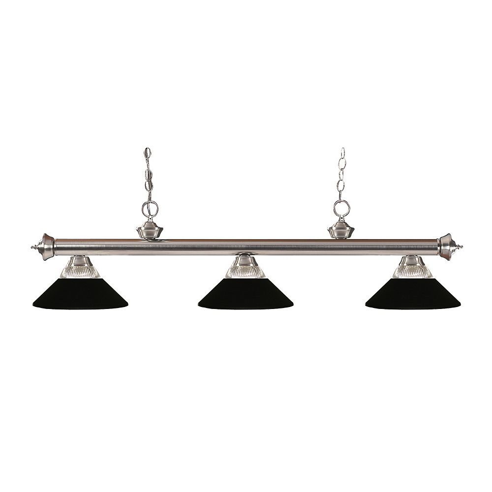 Filament Design 3-Light Brushed Nickel Island/Billiard with Clear Ribbed and Matte Black Glass and Steel Shades