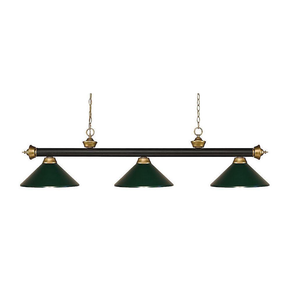 Filament Design 3-Light Bronze and Satin Gold Island/Billiard with Dark Green Steel Shade - 57 inch