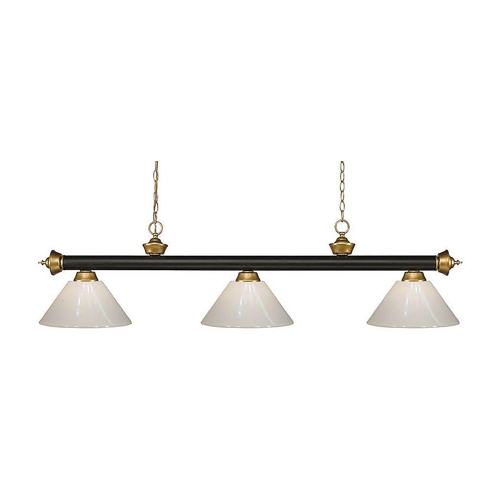Filament Design 3-Light Bronze and Satin Gold Island/Billiard with White Plastic - 57 inch