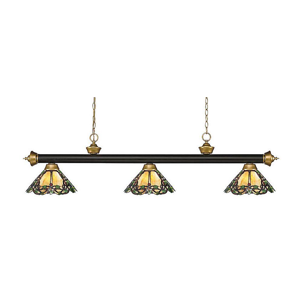 Filament Design 3-Light Bronze and Satin Gold Billiard with Multi Colored Tiffany Glass Shade