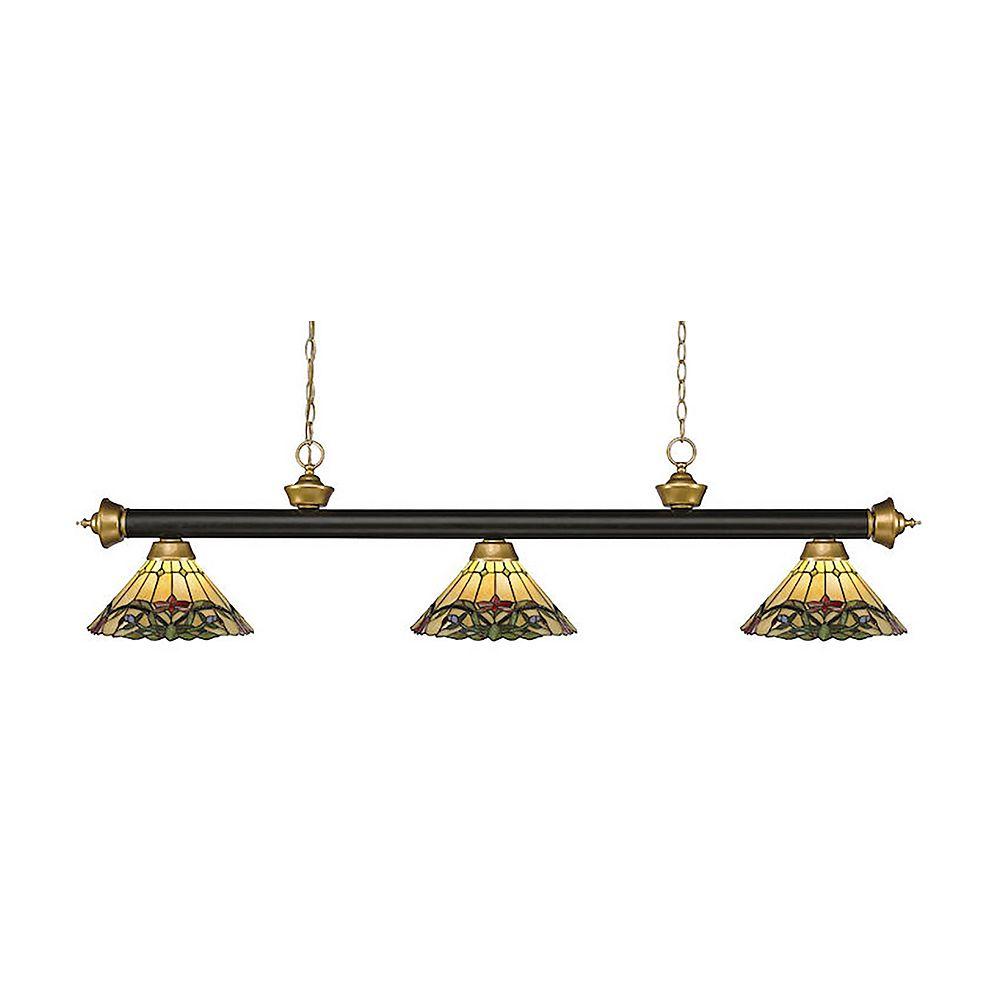 Filament Design Billard bronze à 3 ampoules et or satiné avec abat-jour en verre Tiffany