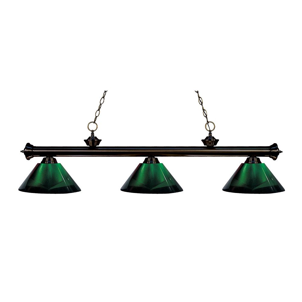 Filament Design 3-Light Bronze Island/Billiard with Green Acrylic Shade - 57 inch