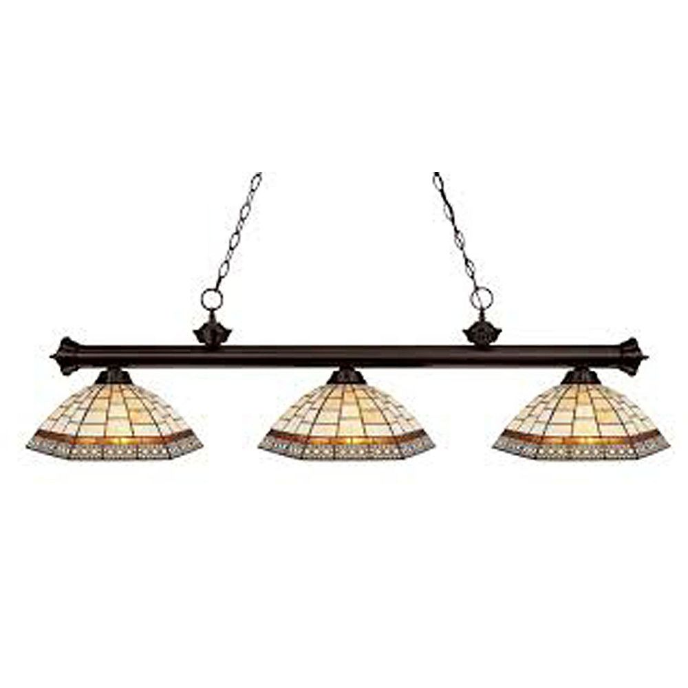 Filament Design 3-Light Bronze Dimmable Island/Billiard with Multi Colored Tiffany Glass Shade - 57 inch