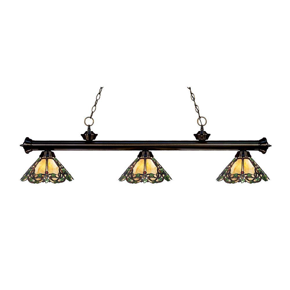 Filament Design Billard / Île dimmable bronze à 3 lumières avec abat-jour en verre Tiffany multicolore