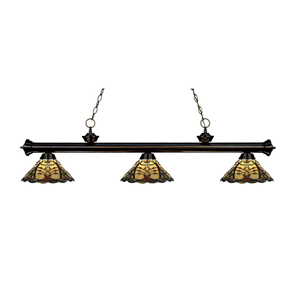 Filament Design 3-Light Bronze Dimmable Island Light with Multi Colored Tiffany Glass Shade - 57 inch