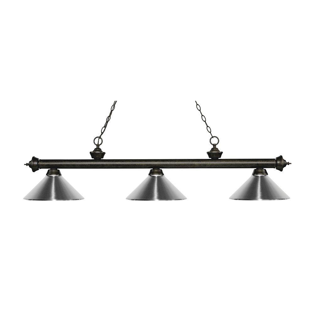 Filament Design Island / Billard à 3 ampoules et bronze doré avec abat-jour en acier chromé - 57,25 pouces