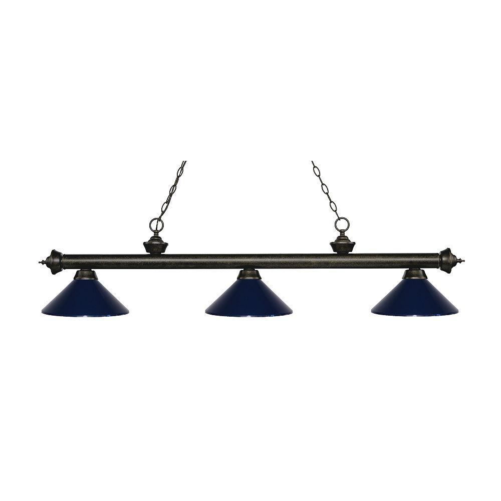 Filament Design Island / Billard à 3 ampoules et bronze doré avec abat-jour en acier bleu marine