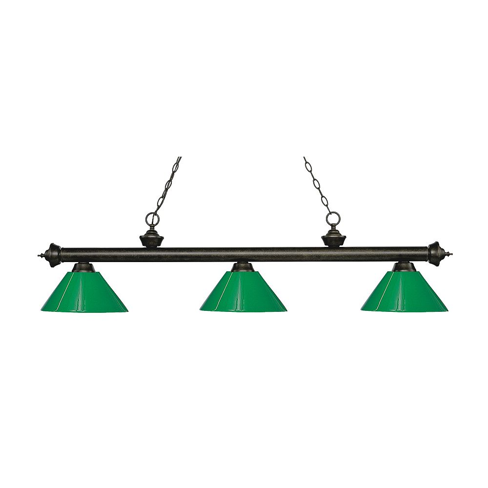 Filament Design Îlot / billard à 3 ampoules en bronze doré avec plastique vert