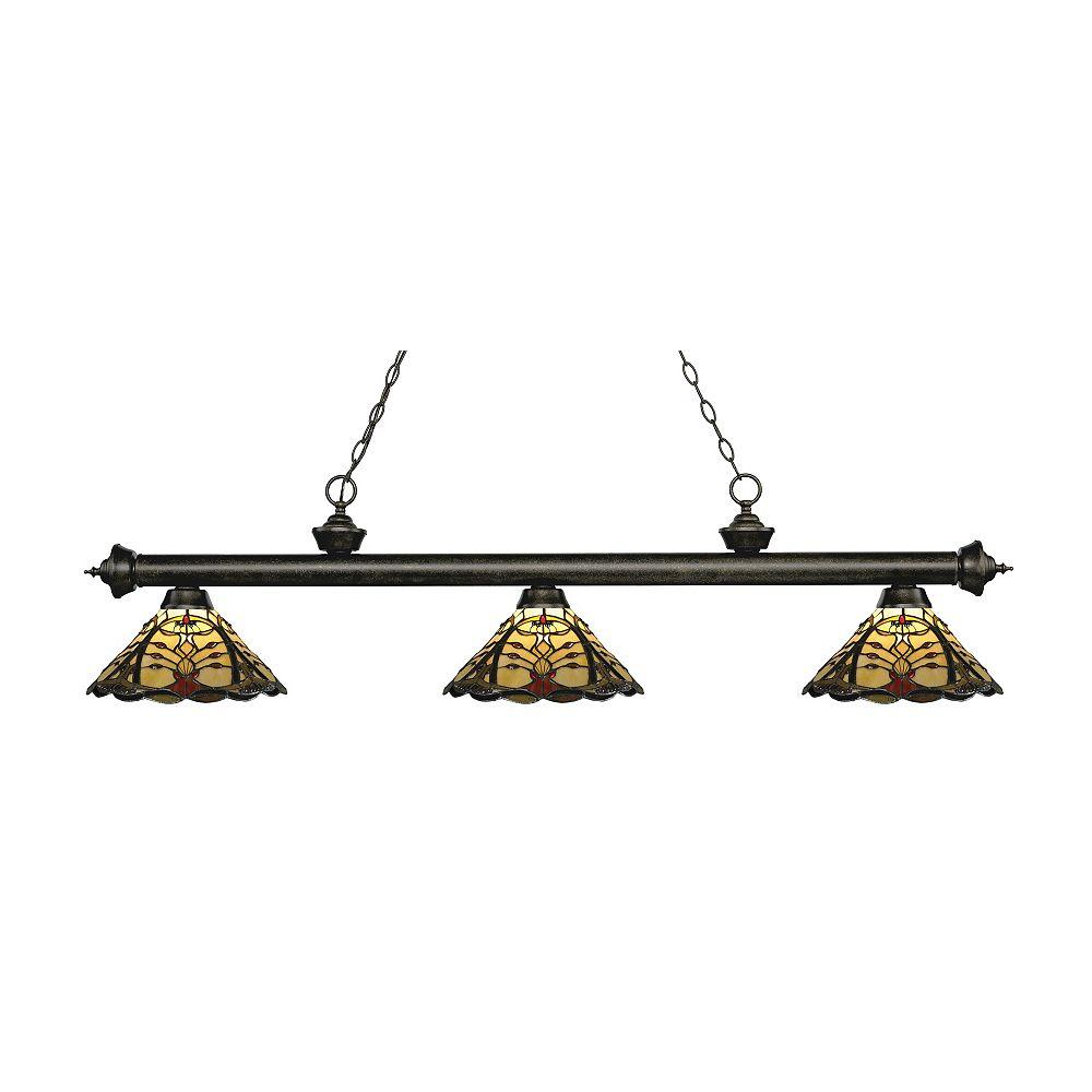 Filament Design 3-Light Golden Bronze Billiard with Multi Colored Tiffany Glass Shades - 57 inch