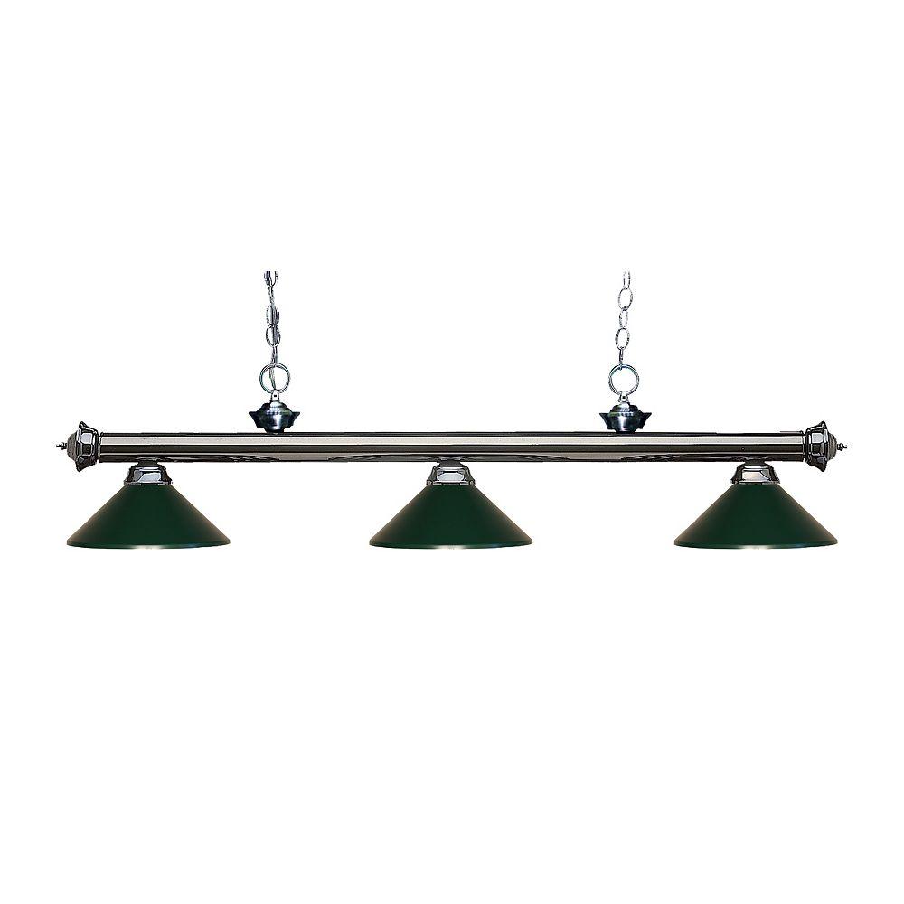 Filament Design Billard métallique et îlot en métal à 3 ampoules avec abat-jour en acier vert foncé - 57 pouces