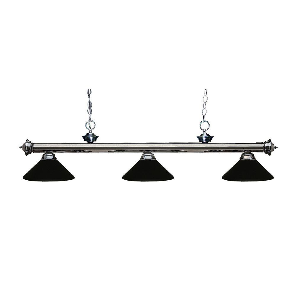 Filament Design Billard en métal bronze à 3 ampoules avec abat-jour en acier noir mat - 57 pouces