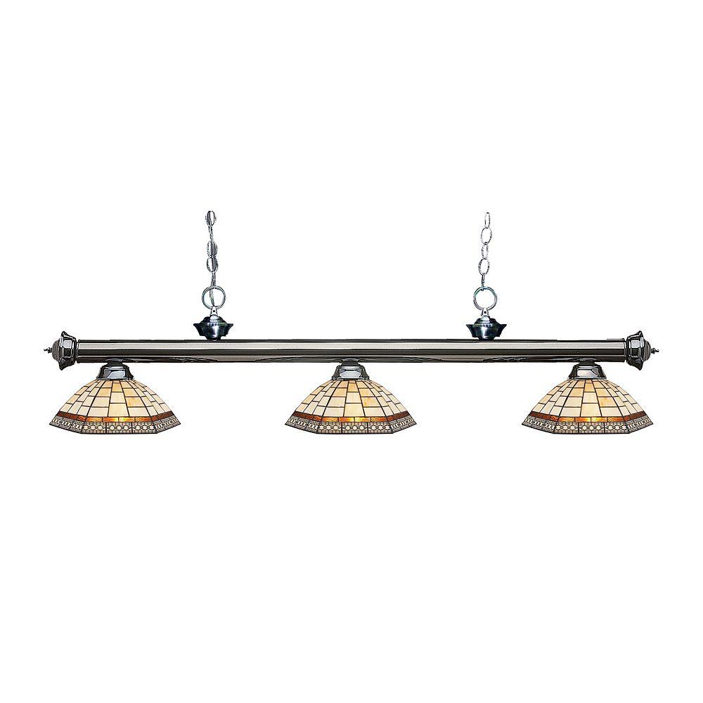 Filament Design Billard métallique et îlot à 3 ampoules avec verre Tiffany multicolore