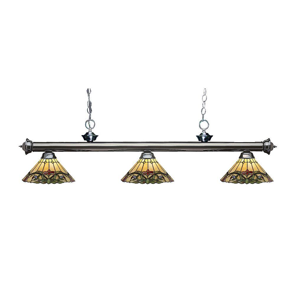 Filament Design Billard dimmable à 3 ampoules en métal avec verre de Tiffany multicolore